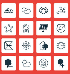 Set of 16 ecology icons includes snow ocean wave vector
