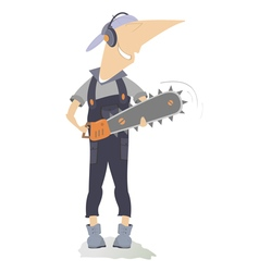 Smiling worker with chainsaw vector