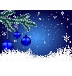 Three blue shiny balls on fir branch Christmas vector image