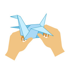 Two hands doing origami paper crane elementary vector