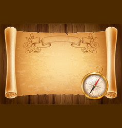 vintage compass and antique scroll vector image vector image