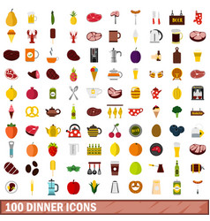 100 dinner icons set flat style vector