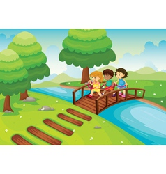 Kids crossing bridge vector
