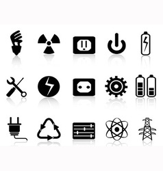Electricity and power icons set vector