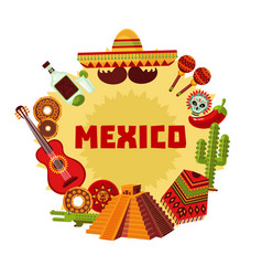 mexico icons round concept vector image