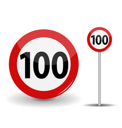 Round red road sign speed limit 100 kilometers per vector