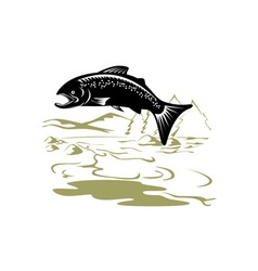 Salmon fish jumping retro vector