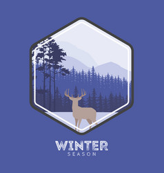 Winter forest deer label pine landscape mountains vector