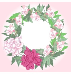 Wreath with pink peonies and flowers vector