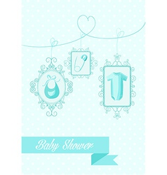 Baby shower boy hanging elements vector