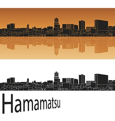 Hamamatsu skyline in orange vector