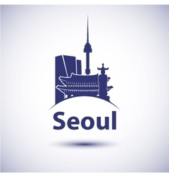 South korea seoul city skyline silhouette vector