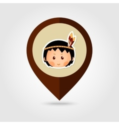 American indian children mapping pin icon vector