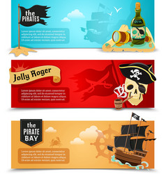 Pirates flat banners set vector