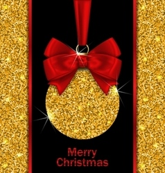 Glitter card with christmas ball vector