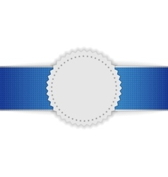 Festive badge on blue ribbon vector