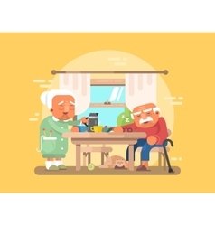 Grandparents breakfast flat vector