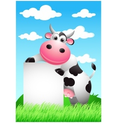cow cartoon with blank sign vector image