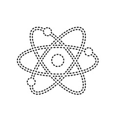 Atom sign black dashed icon vector