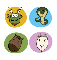 Chinese horoscope animal set vector