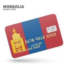 Credit card with Mongolia flag background for bank vector image