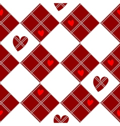 Diamond chessboard red heart valentine vector