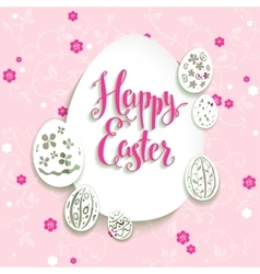 Easter eggs with pink background vector