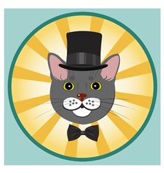 Elegant cat in top hat and bow tie vector
