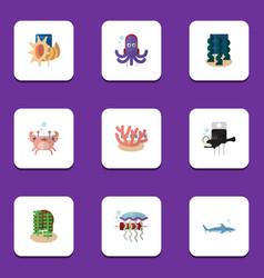Flat icon sea set of alga fish algae and other vector