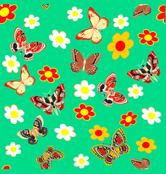 Green seamless background butterfly and flower vector