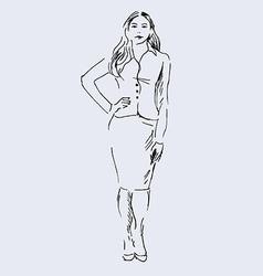 Hand sketch standing woman vector
