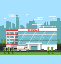 health center exterior of hospital building vector image vector image