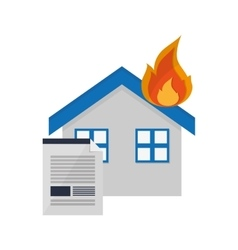 House on fire and contract icon vector