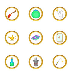 magic items icons set cartoon style vector image