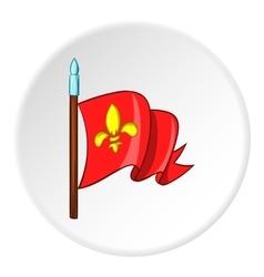 Medieval knight flag icon cartoon style vector