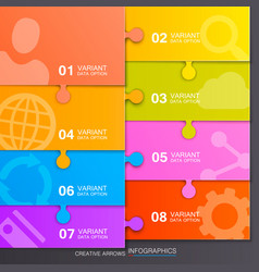 Option of puzzle infographics vector