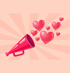 Pink megaphone with hearts vector