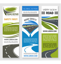 road construction repair safety banner template vector image