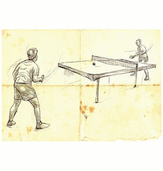Sport table tennis ping-pong an hand drawn vector