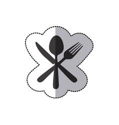 Sticker silhouette cutlery icon vector