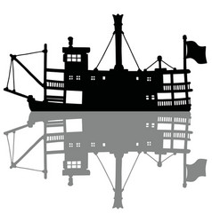 The black silhouette of a vintage steam riverboat vector