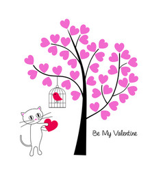 valentines day cat and bird with tree vector image vector image