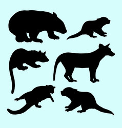 Weasel and squirrel animal silhouette vector