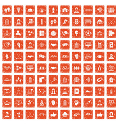 100 team icons set grunge orange vector