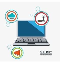 Laptop cyber security system design vector
