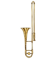 Isolated golden trombone vector