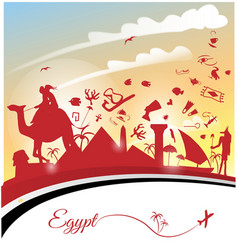 Egypt background with flag and symbol vector