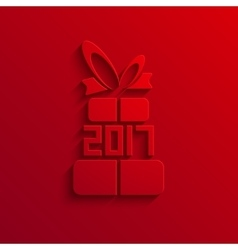Modern 2017 gift red icon background vector