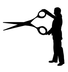 Man with big scissors vector
