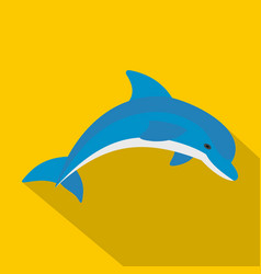 Blue dolphin icon flat style vector